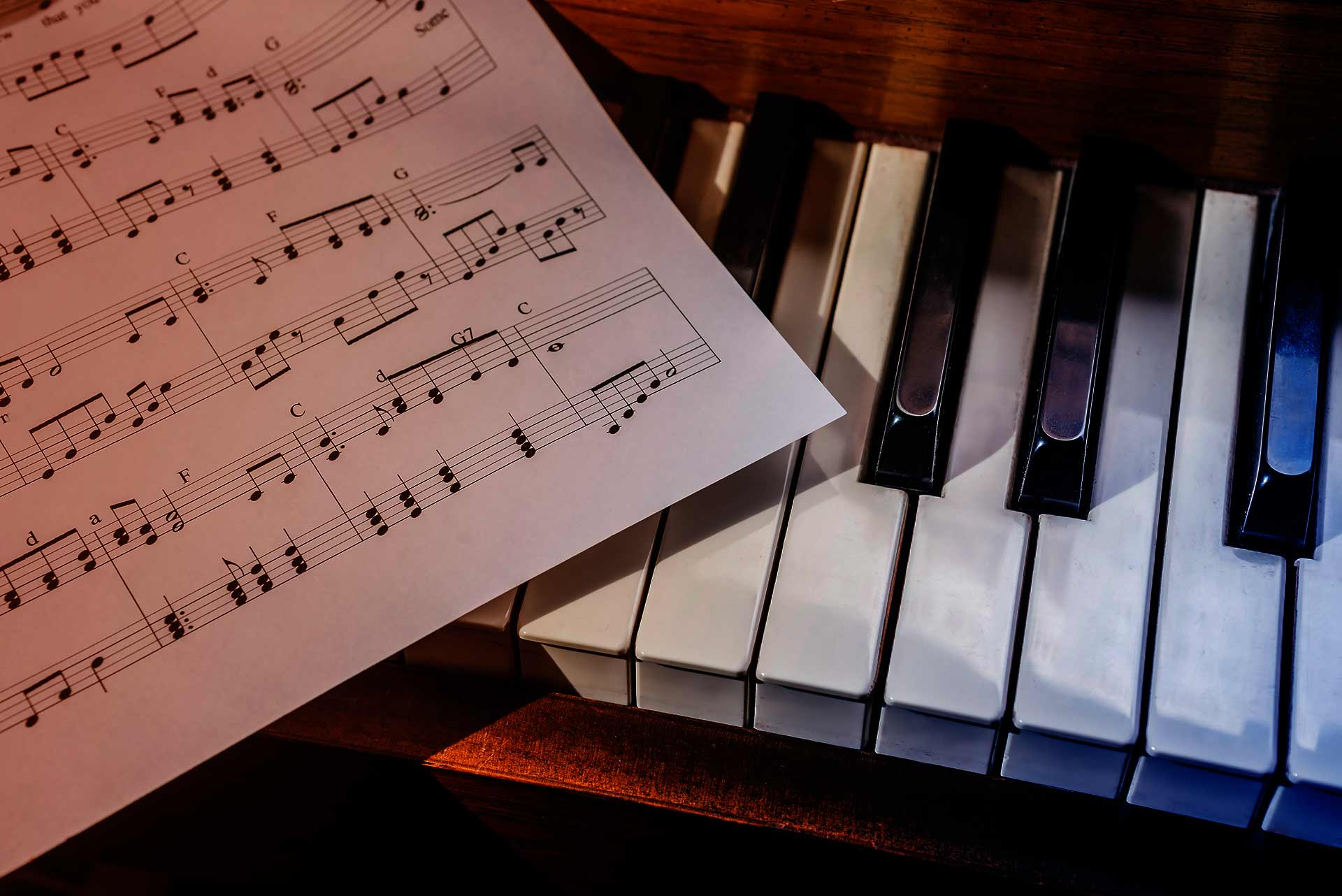Score piano's keys