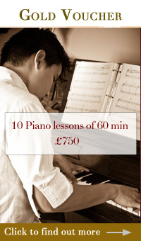Gold piano gift vouchers