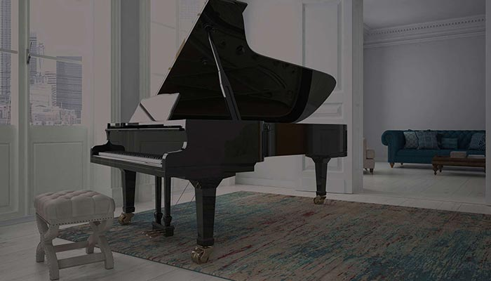 Grand piano in a beautiful living room