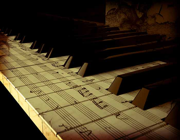 Piano with notes on its keys