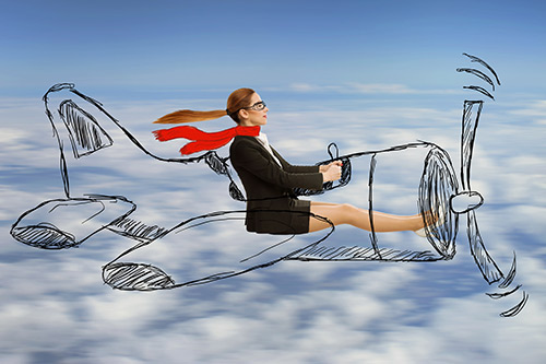 Women dreaming of flying
