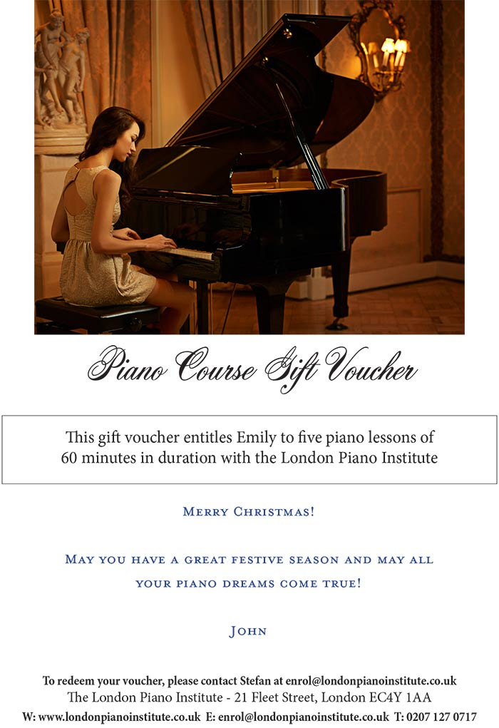 Piano lessons gift voucher