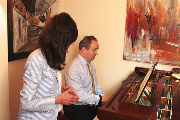 Celine teaching Laurence at The London Piano Institute