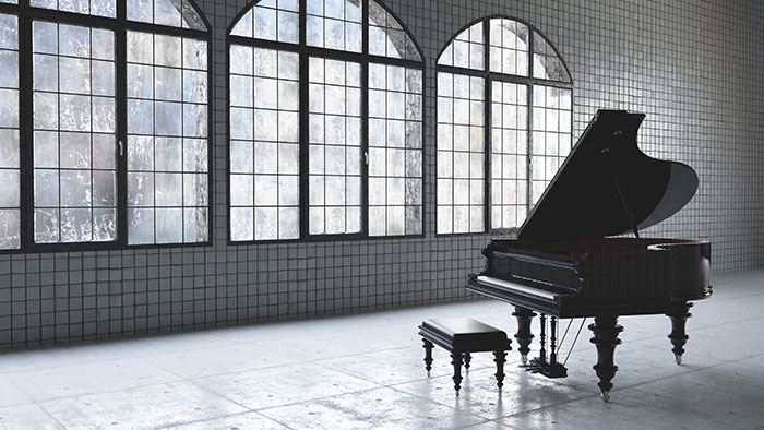 Grand piano in an open space
