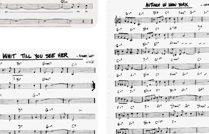 Jazz symbols in a lead sheet