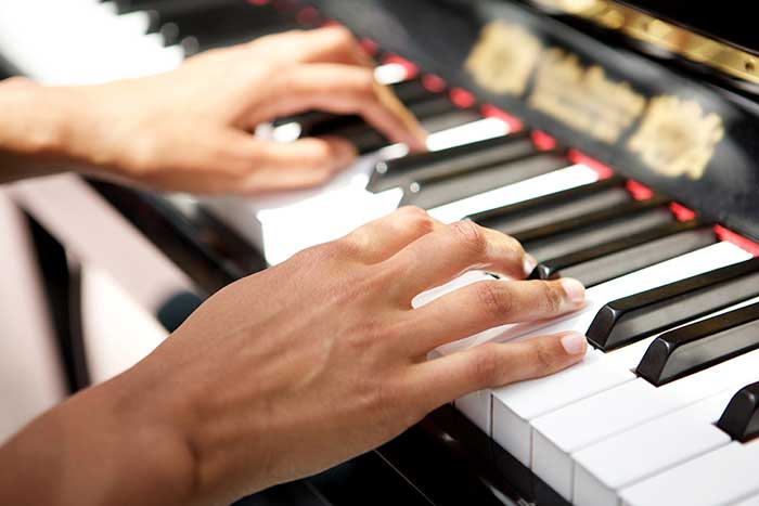 Jazz pianist playing a jazz voicing