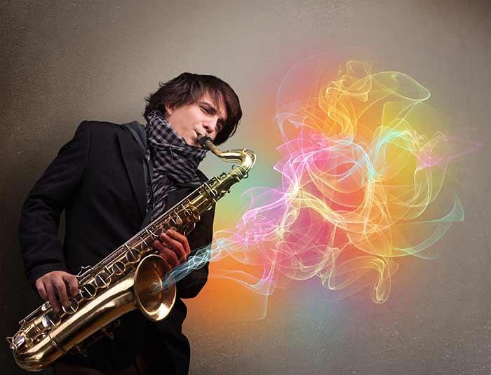 jazz saxophonist swinging