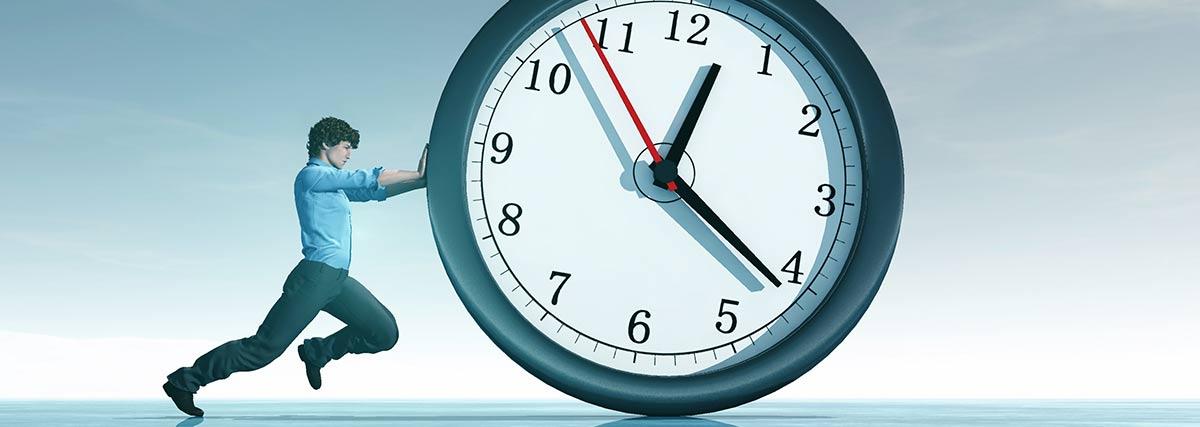 man pushing the time